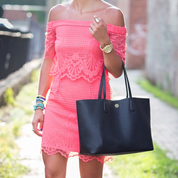 594ad2cc70c5 Topshop Dresses   Coral Lace Off The Shoulder Dress   Poshmark